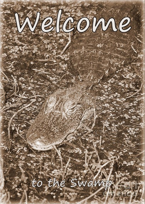 Gator Greeting Card featuring the photograph Welcome To The Swamp - Sepia by Carol Groenen