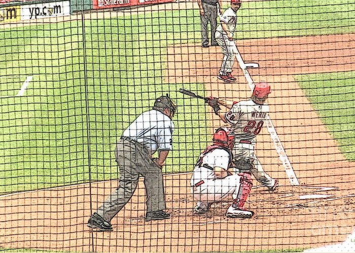 Baseball Greeting Card featuring the photograph Werth Swings For Phillies by Lani PVG  Richmond