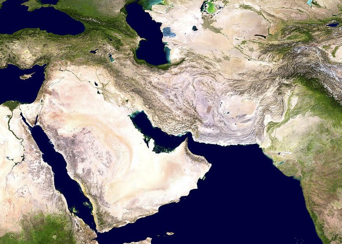 Western Asia Greeting Card featuring the photograph Western Asia, Satellite Image by Nasa