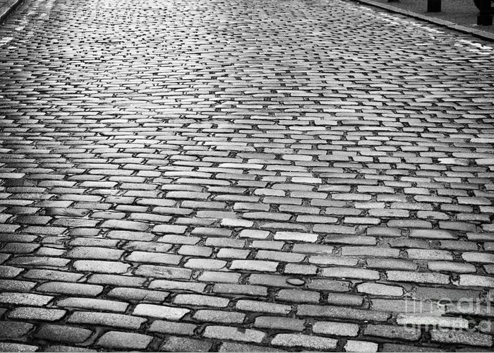 Wet Greeting Card featuring the photograph Wet Cobblestoned Huntly Street In The Union Street Area Of Aberdeen Scotland by Joe Fox