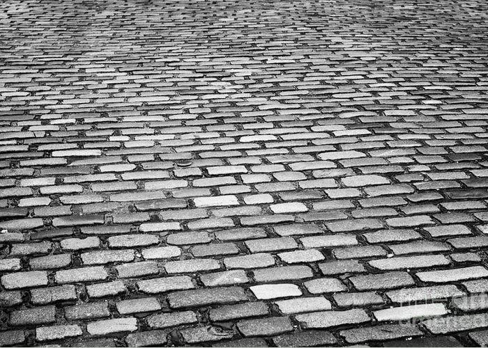 Wet Greeting Card featuring the photograph Wet Cobblestoned Huntly Street In The Union Street Area Of Aberdeen Scotland Uk by Joe Fox
