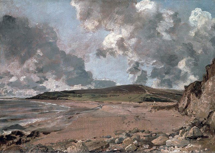 Furzy Cliff; Sand; Clouds; Cloud; Landscape; Rocky; Desolate; Barren; Romantic; Romanticism; Darkened; Storm; Stormy Greeting Card featuring the painting Weymouth Bay With Jordan Hill by John Constable