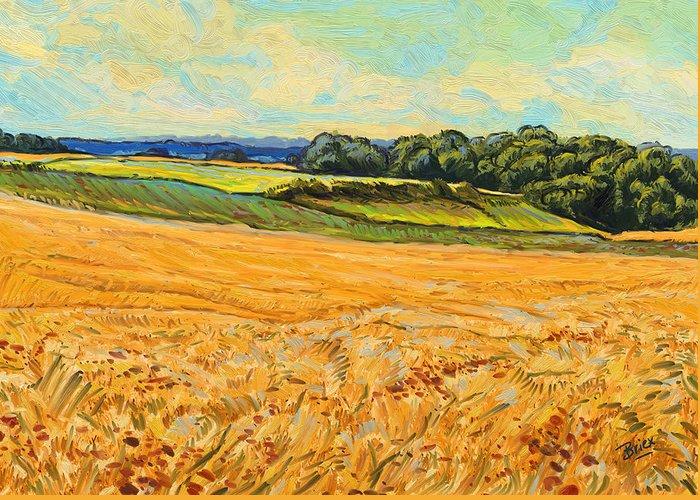 Wheat Field Graanveld Limburg Landscape Oil Painting Briex Greeting Card featuring the painting Wheat Field In Limburg by Nop Briex