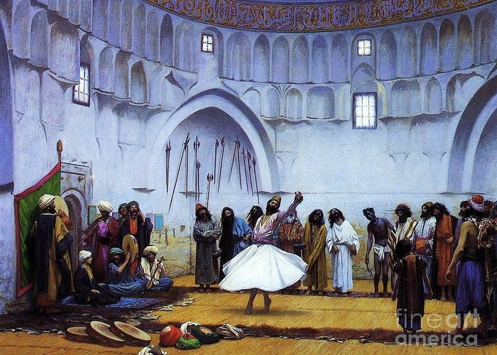 Pd Greeting Card featuring the painting Whirling Dervishes by Pg Reproductions