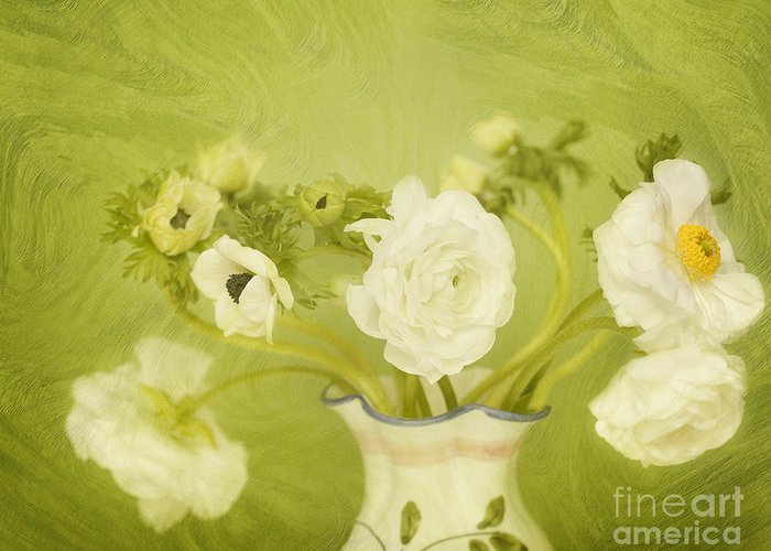 Ranunculus Greeting Card featuring the photograph White Anemonies And Ranunculus On Green by Susan Gary