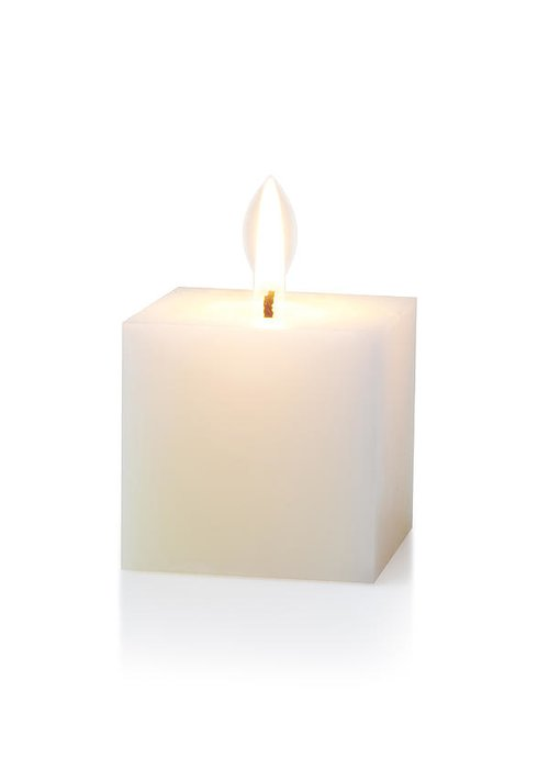 Candle Greeting Card featuring the photograph White Cubic Candle by Atiketta Sangasaeng
