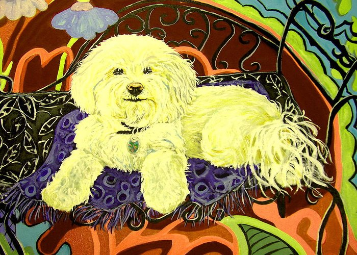 Art Greeting Card featuring the painting White Dog In Garden by Patricia Lazar