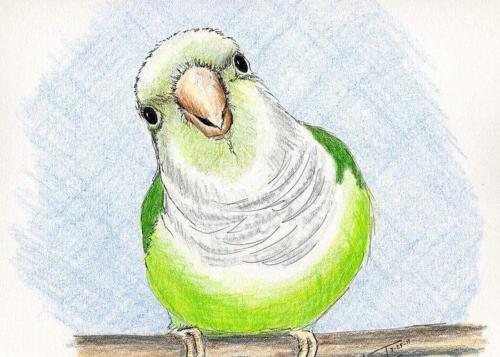 Bird Greeting Card featuring the painting Who Me by Laurilee Taylor