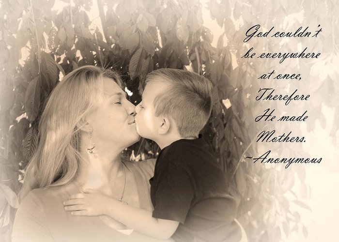 Art Greeting Card featuring the photograph Why He Made Mothers by Kelly Hazel