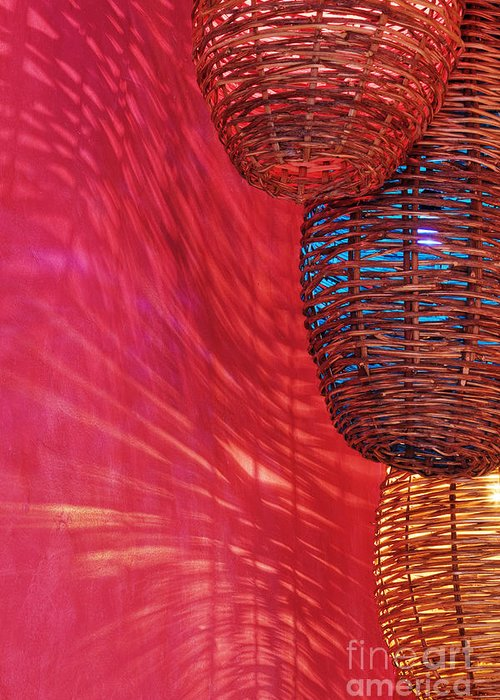 Architecture Greeting Card featuring the photograph Wicker Light Shades And Pink Wall by Jeremy Woodhouse
