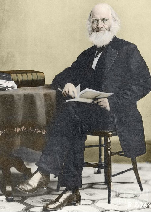 History Greeting Card featuring the photograph William Cullen Bryant, American Poet by Science Source