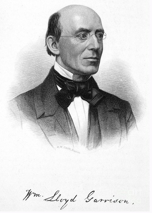 19th Century Greeting Card featuring the photograph William Lloyd Garrison by Granger