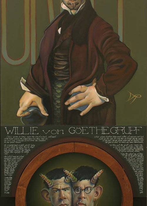 Goat Greeting Card featuring the painting Willie Von Goethegrupf by Patrick Anthony Pierson