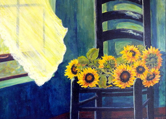 Window Sill Greeting Card featuring the painting Windfall by Carol Ann Wagner