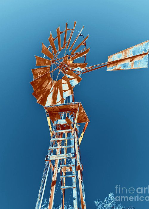 Windmill Greeting Card featuring the photograph Windmill Rust Orange With Blue Sky by Rebecca Margraf