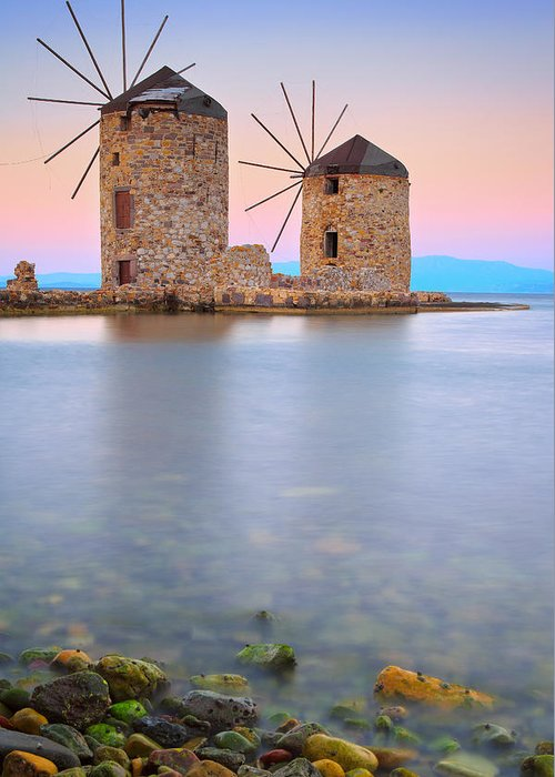 Xios Greeting Card featuring the photograph Windmills by Emmanuel Panagiotakis