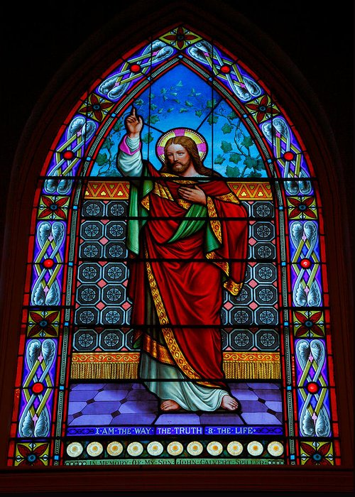 Stained Glass Greeting Card featuring the photograph Window In Trinity Church Iv by Steven Ainsworth