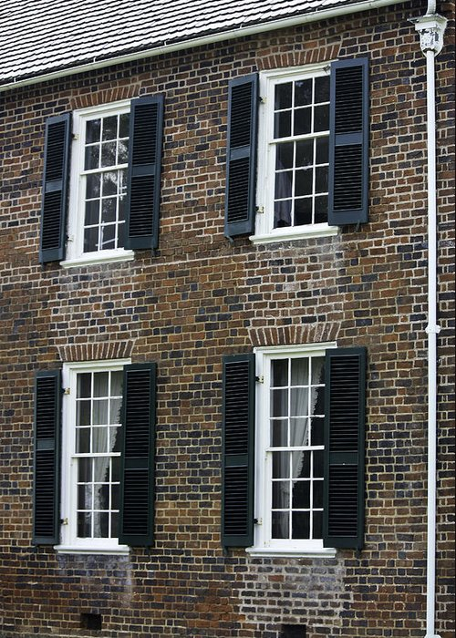 Appomattox Greeting Card featuring the photograph Windows At The Clover Hill Tavern Appomattox Virginia by Teresa Mucha