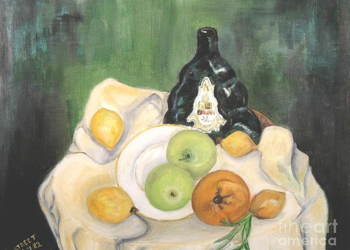Still Life Greeting Card featuring the painting Wine And Fruit by Caroline Street