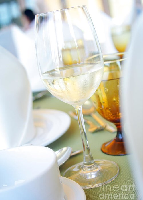 Restaurant Greeting Card featuring the photograph Wineglass by Atiketta Sangasaeng
