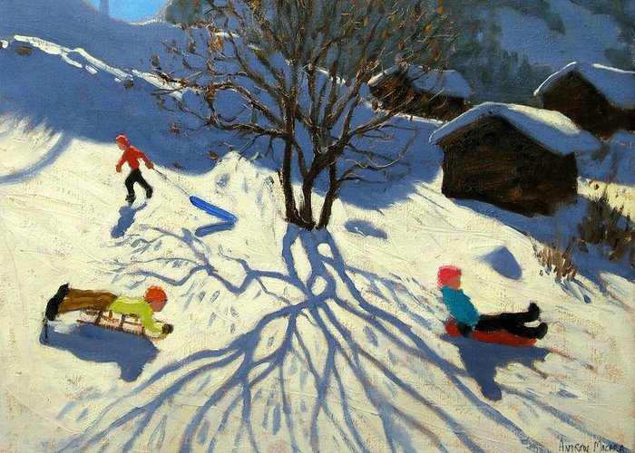 Sledging Greeting Card featuring the painting Winter Hillside Morzine France by Andrew Macara