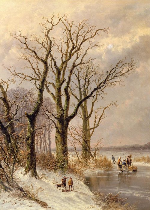 Snow; Toboggan Greeting Card featuring the painting Winter Landscape With Faggot Gatherers Conversing On A Frozen Lake by Josephus Gerardus Hans