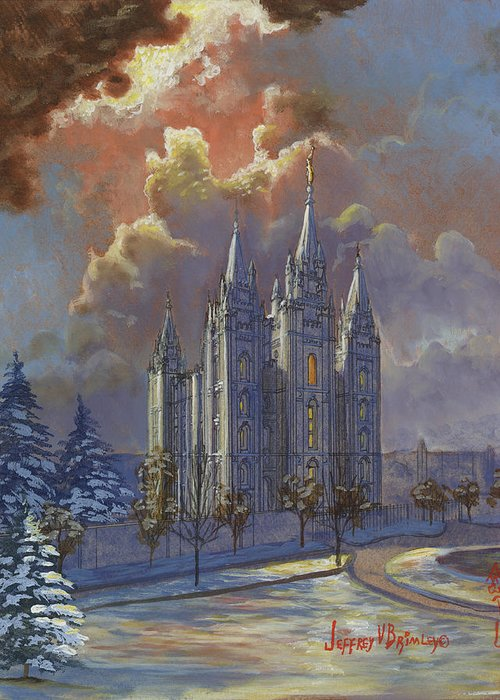 Salt Lake Temple Greeting Card featuring the painting Winter Solace by Jeff Brimley
