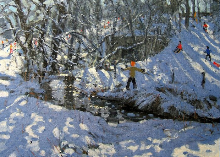 Snow Greeting Card featuring the painting Winter Stream by Andrew Macara