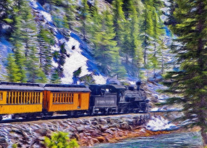 Durango Greeting Card featuring the painting Winter Train by Jeff Kolker