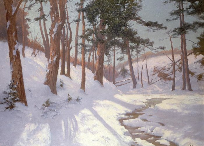 Winter Greeting Card featuring the painting Winter Woodland With A Stream by James MacLaren