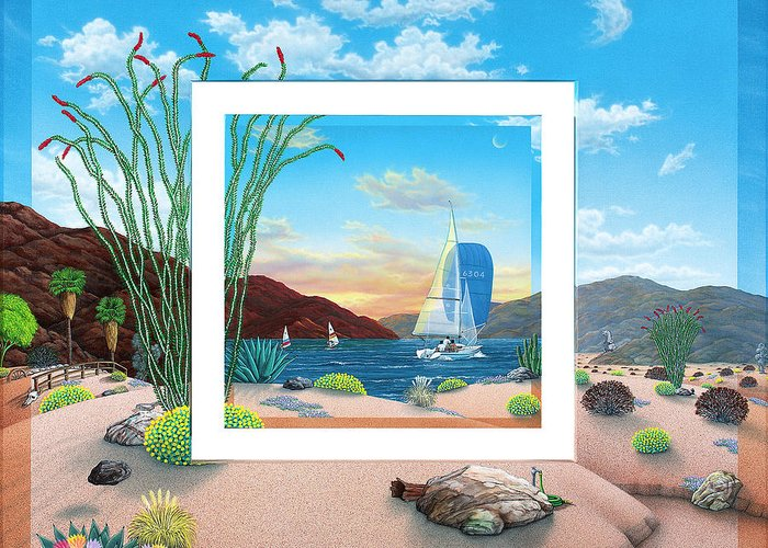Desert Greeting Card featuring the painting Wish You Were Here by Snake Jagger