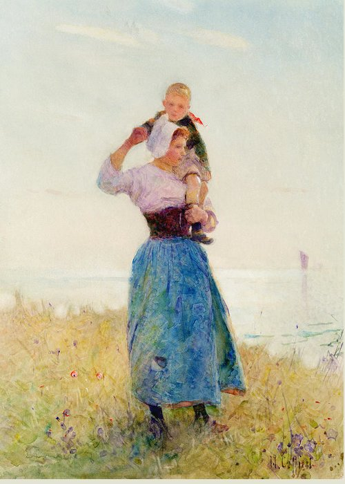 Summer; Coast; Sea; Breezy Greeting Card featuring the painting Woman And Child In A Meadow by Hector Caffieri