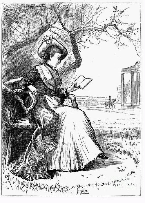 1876 Greeting Card featuring the photograph Woman Reading, 1876 by Granger