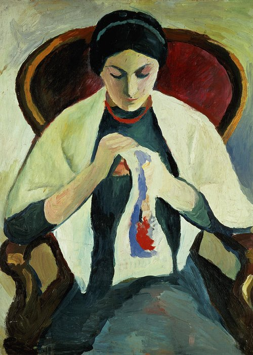 Woman Sewing By August Macke (1887-1914) Armchair; Portrait; Female Greeting Card featuring the painting Woman Sewing by August Macke