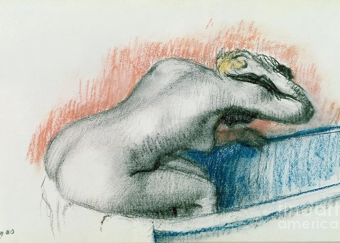 Bathing; Female; Nude; Sponge; Red; White And Blue; Toilet; Toilette; Bather; Interior; Laver Greeting Card featuring the pastel Woman Washing In The Bath by Edgar Degas