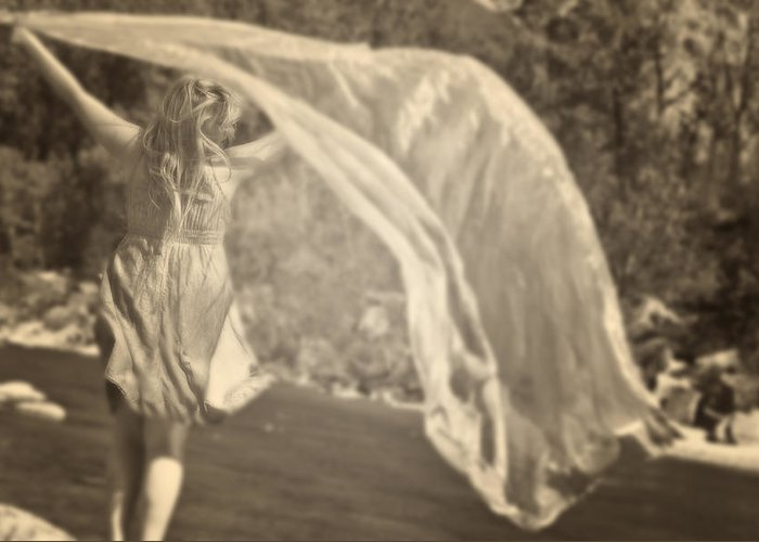 Young Greeting Card featuring the photograph Woman With Veil by Joana Kruse