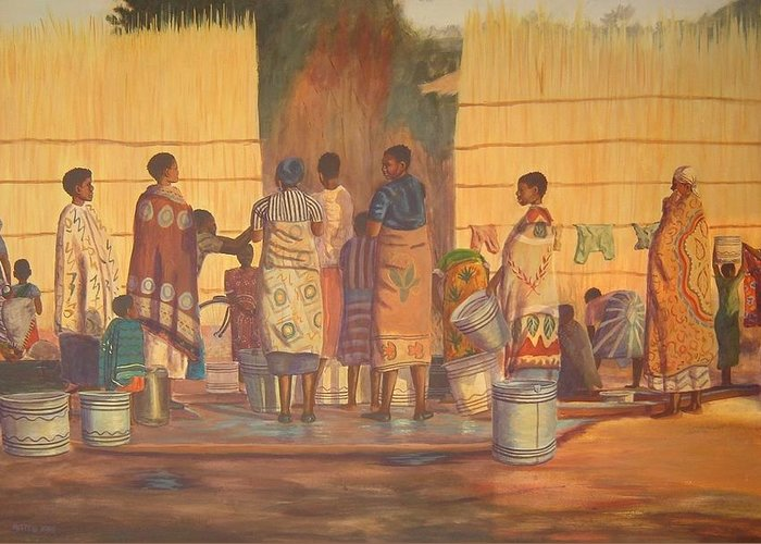 African Greeting Card featuring the painting Women At Bolehole by Nisty Wizy