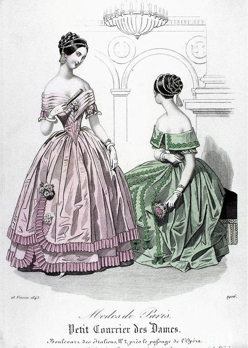 1843 Greeting Card featuring the photograph Womens Fashion, 1843 by Granger