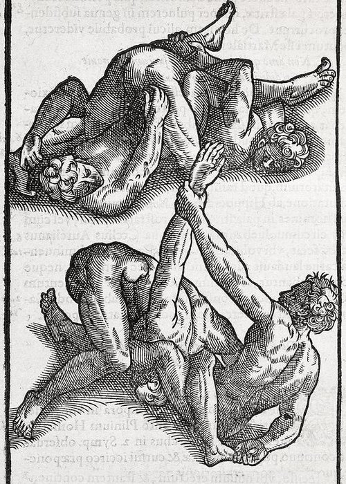 Human Greeting Card featuring the photograph Wrestling Moves, 16th Century Artwork by Middle Temple Library