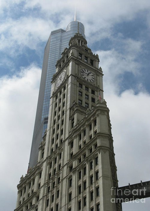 Clock Tower Greeting Card featuring the photograph Wrigley Building by Arlene Carmel
