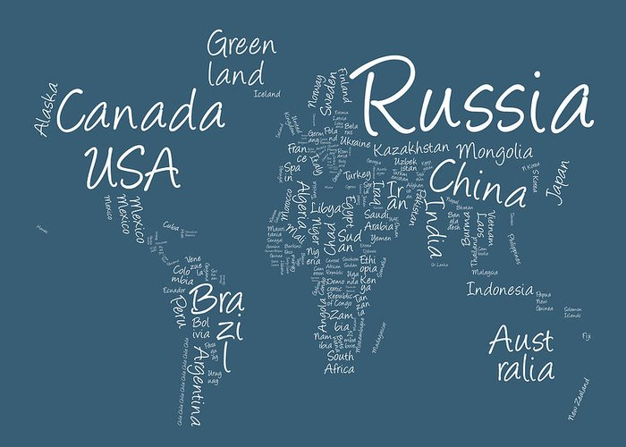 World Map Greeting Card featuring the digital art Writing Text Map Of The World Map by Michael Tompsett