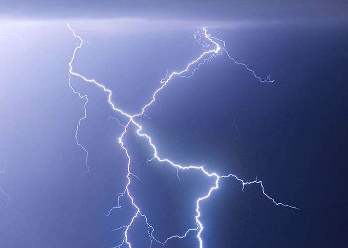 City Greeting Card featuring the photograph X Lightning Bolt In The Sky by James BO Insogna