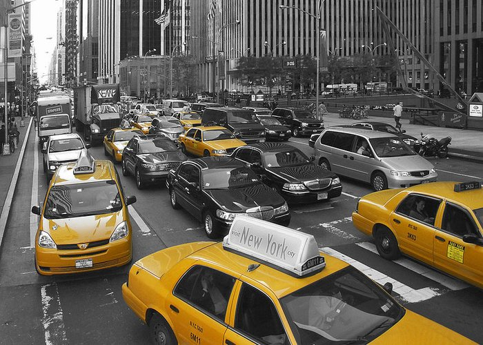 Usa Greeting Card featuring the photograph Yellow Cabs Ny by Melanie Viola