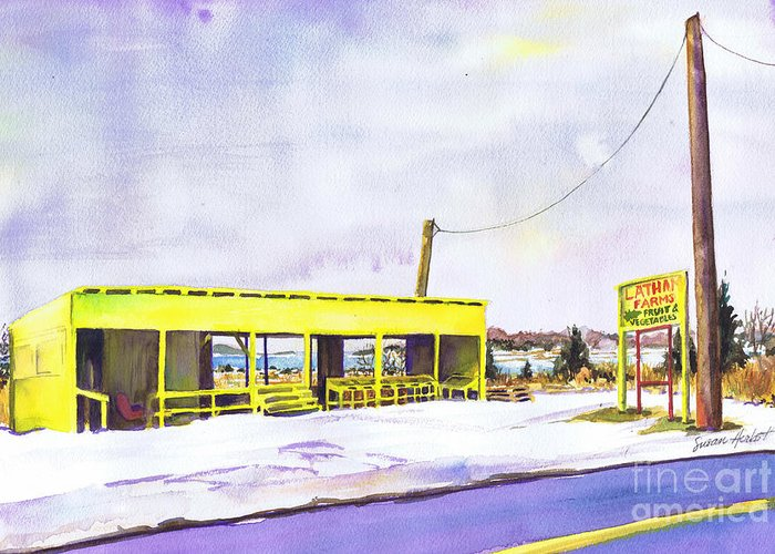 Farm Greeting Card featuring the painting Yellow Farm Stand Winter Orient Harbor Ny by Susan Herbst
