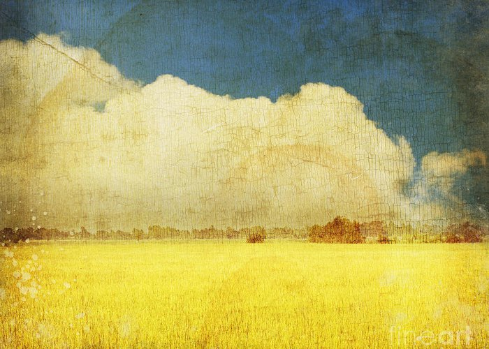 Abstract Greeting Card featuring the photograph Yellow Field by Setsiri Silapasuwanchai