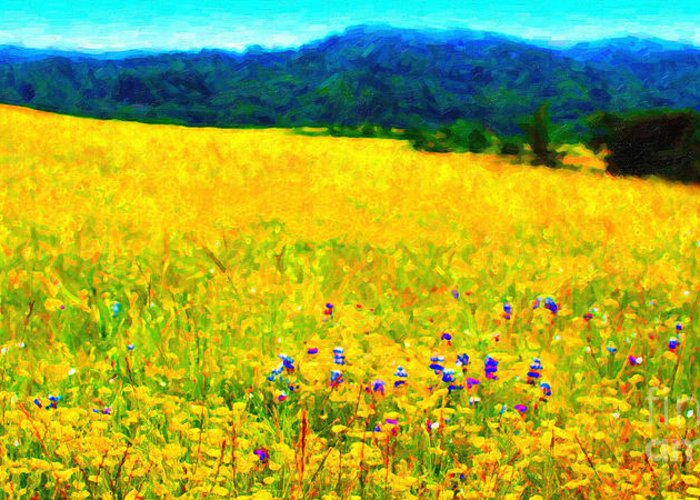 Landscape Greeting Card featuring the photograph Yellow Hills . Long Cut by Wingsdomain Art and Photography