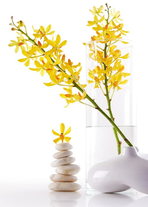 Spa-treatment Greeting Card featuring the photograph Yellow Orchid Bunchs by Atiketta Sangasaeng