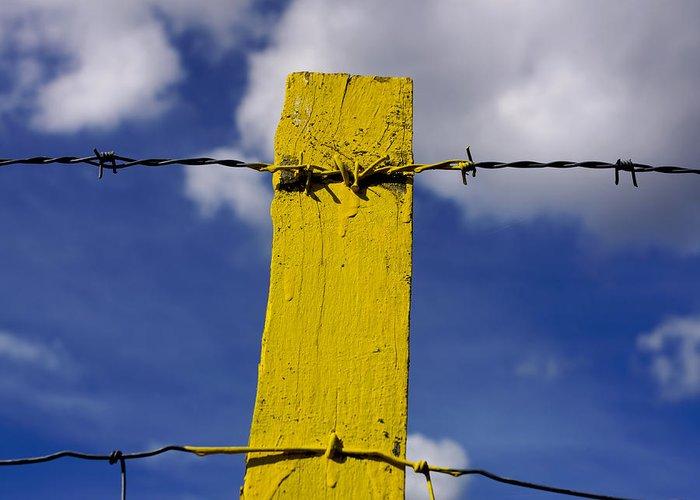 Outdoors Greeting Card featuring the photograph Yellow Post by Bernard Jaubert