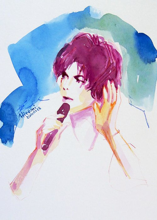 Michael Jackson Greeting Card featuring the painting You And I Must Make A Pact by Hitomi Osanai