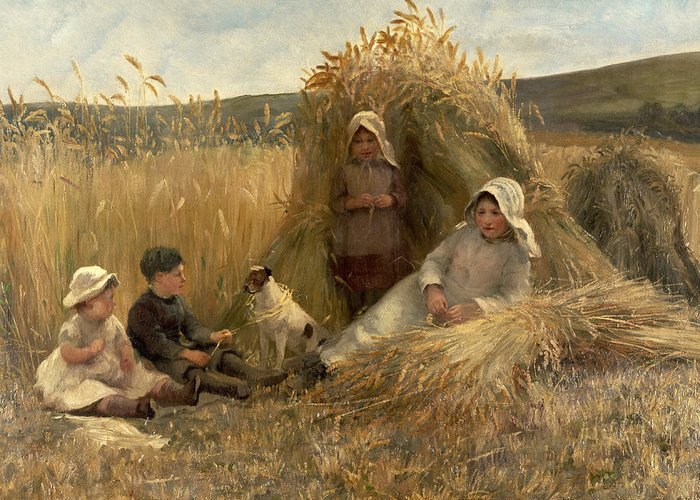 Young Harvesters Greeting Card featuring the painting Young Harvesters by Lionel Percy Smythe